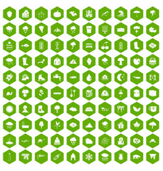 100 clouds icons hexagon green vector