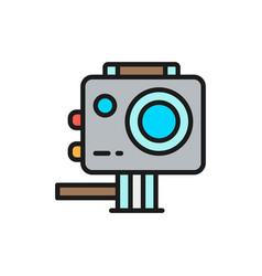 Action camera extreme video cam flat color line vector