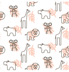 African wild animals kid seamless pattern vector