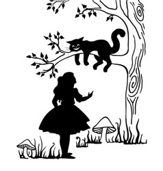 Alice and cheshire cat lewis caroll s characters vector