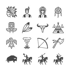 american indian tribe icons vector image