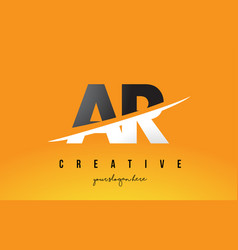 Ar a r letter modern logo design with yellow vector