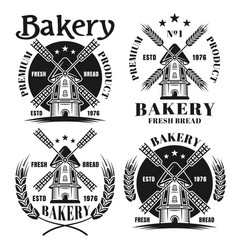 bakery set of four emblems with windmill vector image