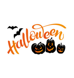 banner with lettering halloween bats and pumpkins vector image