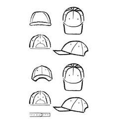 Baseball tennis rap cap outlined template vector
