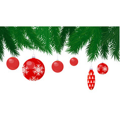 baubles and cone toy hanging on christmas tree vector image