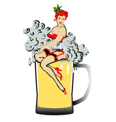 Beer with foam and pin up girl vector