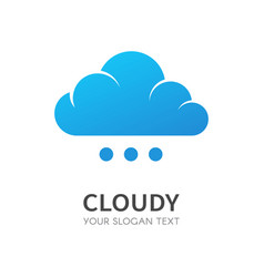 blue cloud isolated logo data storage vector image