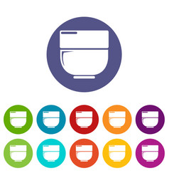 bowl icons set color vector image