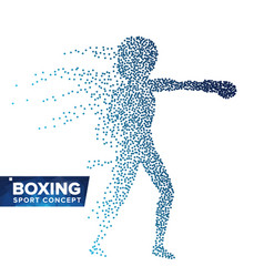 boxing player silhouette halftone dots vector image