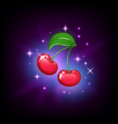 bright red cherry with green leaf and sparkles vector image