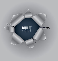 bullet hole in hard metal material with ripped vector image