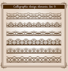 calligraphic border set horizontal vector image