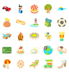 Carefree vacation icons set cartoon style vector