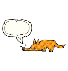 cartoon fox sniffing floor with speech bubble vector image