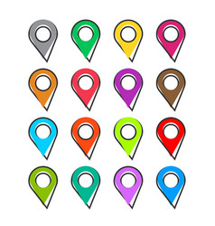 cartoon set pin location icon in comic style vector image