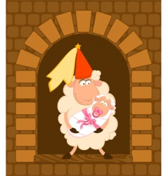 cartoon sheep with baby vector image