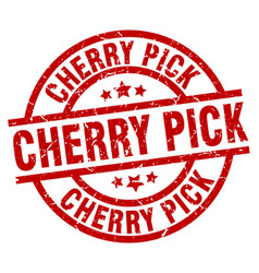 Cherry pick round red grunge stamp vector