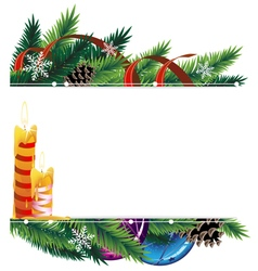 Christmas background with baubles pine cones vector