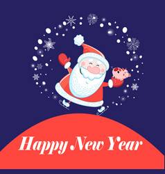 christmas postcard santa claus and a pig vector image