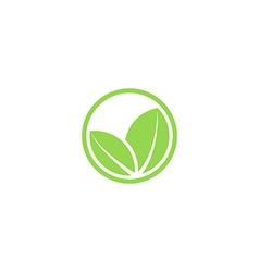 circle mockup eco logo green leafs plant vector image