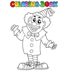 Coloring book with happy clown 7 vector