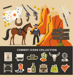 Cowboy icons collection vector