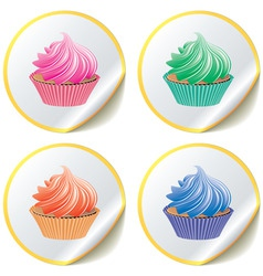 cupcakes on paper stickers vector image