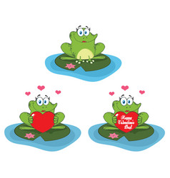 cute frog cartoon character collection set vector image