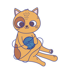 cute little cat playing with wool ball icon design vector image
