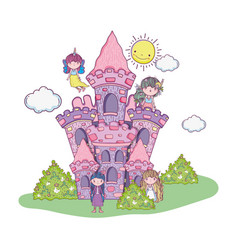 Cute little fairies group in the castle vector