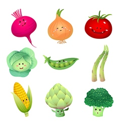 cute vegetables characters set 2 vector image