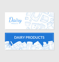 dairy products horizontal banners templates set vector image