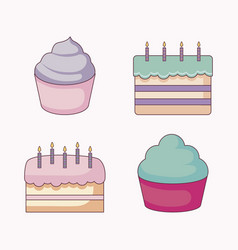 delicious sweet cupcakes and cakes vector image