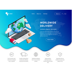 Delivery landing with laptop icons vector