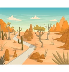 Desert landscape with road cactuses mountains vector