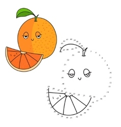 Educational game connect dots draw orange vector