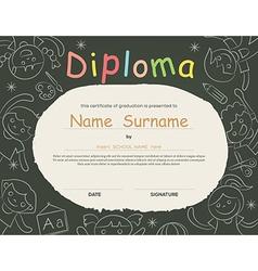 Elementary school Kids Diploma certificate vector image