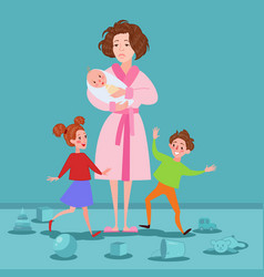 Exhausted mother with newborn and children vector