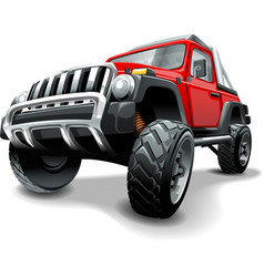 extreme red off road vehicle suv isolated vector image
