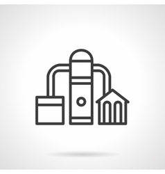 Factory refinery icon black line icon vector image