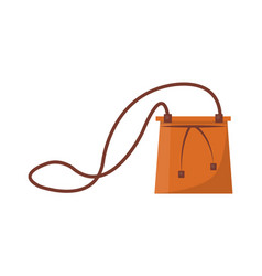 Female capacious leather bag with long thin strap vector