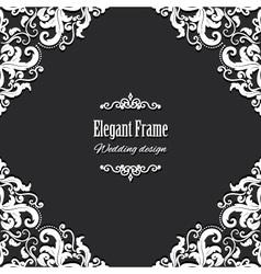 Filigree square frame vector