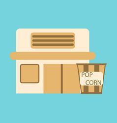 Flat icon building cinema popcorn vector