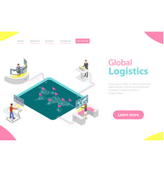 Flat isometric landing page template of vector