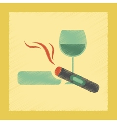 flat shading style icon cigar glass of wine vector image
