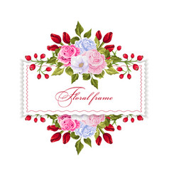 Floral rectangle frame with bouquets of flowers vector