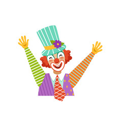 Funny circus clown raising his hands avatar of vector