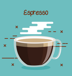 glass cup of coffee espresso soft drink vector image