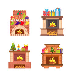 glowing fireplace decorated christmas tree vector image